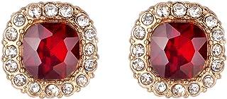 Gold Ruby Red Clear Crystal Rhinestones Birthstones Stud...