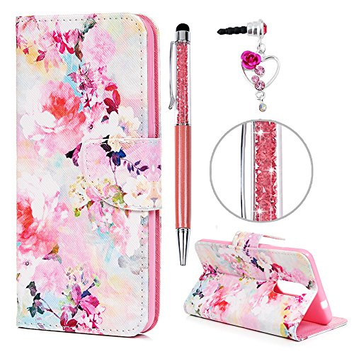 iAdvantec Wiko View XL Hülle Hülle, Filp PU Leder Wallet Handyhülle Flipcase : Bookstyle Gemalt Tasche Brieftasche Schutzhülle in H&ert blühende Blumen + Anti Staub Stöpsel + Stylus
