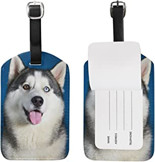 My Daily Cute Husky Dog Luggage Tag PU Leather Bag Tag Travel Suitcases ID Identifier Baggage Label