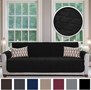 Gorilla Grip Original Velvet Slip Resistant X-Large Oversized Sofa Protector for Seat Width up to 78 Inch, Furniture Slipcover, 2 Inch Straps, Couch Slip Cover Throw for Pet Dogs, Cats, Sofa, Black