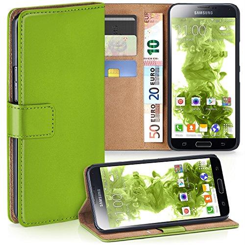 MoEx Premium Book-Case Handytasche kompatibel mit Samsung Galaxy S5 | Handyhülle mit Kartenfach und Ständer - 360 Grad Schutz Handy Tasche, Grün