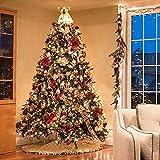 SHBV Árbol de Navidad artificial con luces LED Douglas Pine Tree Decorado con bisagras para tienda de mercado, decoración de fiesta, gran precama árbol de Navidad con adornos, verde 180 cm