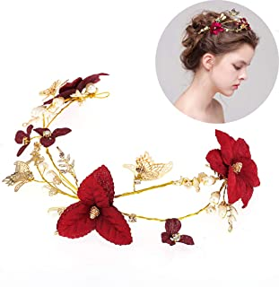 Wedding Red Flower Gold Butterfly Hairbands Wedding Tiara Pearl Headbands Bridal Hair Jewelry Accessories