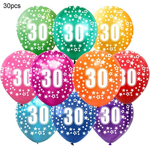 Bluelves Kunterbunte Luftballons 30 Jahre Metallic 30pcs Deko zum 30. Geburtstag Junge Mädchen, Jubiläum Hochzeit Party Kindergeburtstag Happy Birthday Dekoration Zahl 30