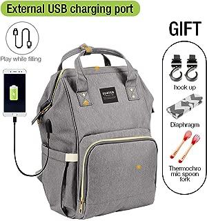 Bebé Bolsa de Pañales Mummy Maternidad bolsas para pañales bolso Maternal, Roomy–Mochila de viaje de gran capacidad mamá & Papá el cuidado del bebé, Gris