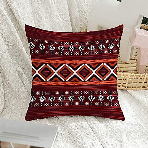 Funda de almohada decorativa cuadrada con textura, patrón geométrico de Ikat, batik marroquí, belleza tradicional oriental, texturas de moda, funda de almohada antigua para decoración de sofá, 16 'x
