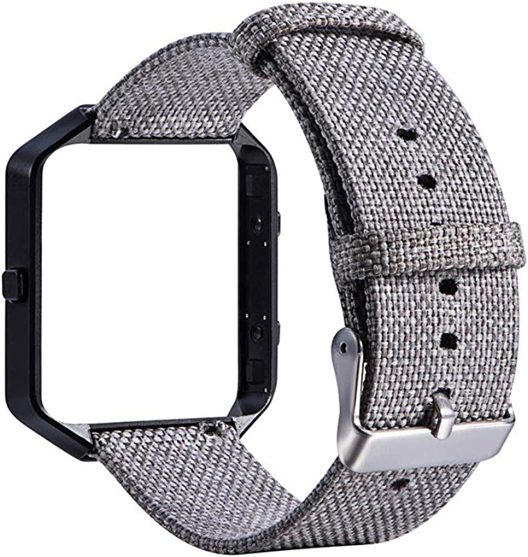 Yunbox299 Watch Bands Wrist Band Strap Replacement Canvas Watch Strap With Metal Frame For Fitbit Blaze Smart Bracelet