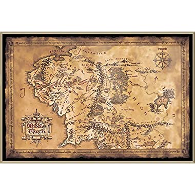 The Hobbit/The Lord of The Rings - Framed Movie Poster/Print (Map of Middle Earth - Limited Dark/Sepia Edition) (Size: 36 inches x 24 inches)