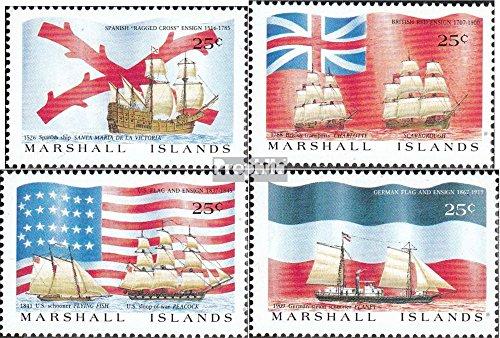 Prophila Collection Marshall-Inseln 185-188 (kompl.Ausg.) 1988 Entdeckungsschiffe und Flaggen (Briefmarken für Sammler) Seefahrt