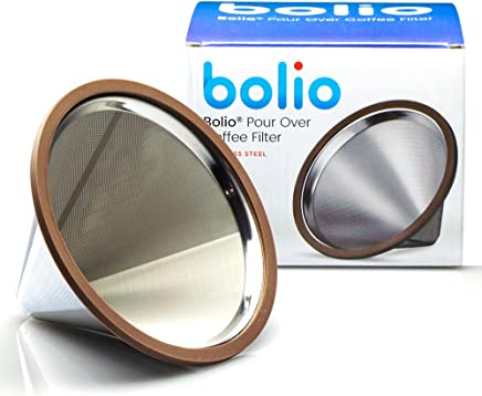Pour Over Coffee Filter - Food Grade Stainless Steel Double Wall & Reusable Cone Dripper -Perfect for Barista Warrior Kitchables,  Goldtone,  Hiware,  Chemex,  Hario V60 Pour Over Coffee Makers By Bolio