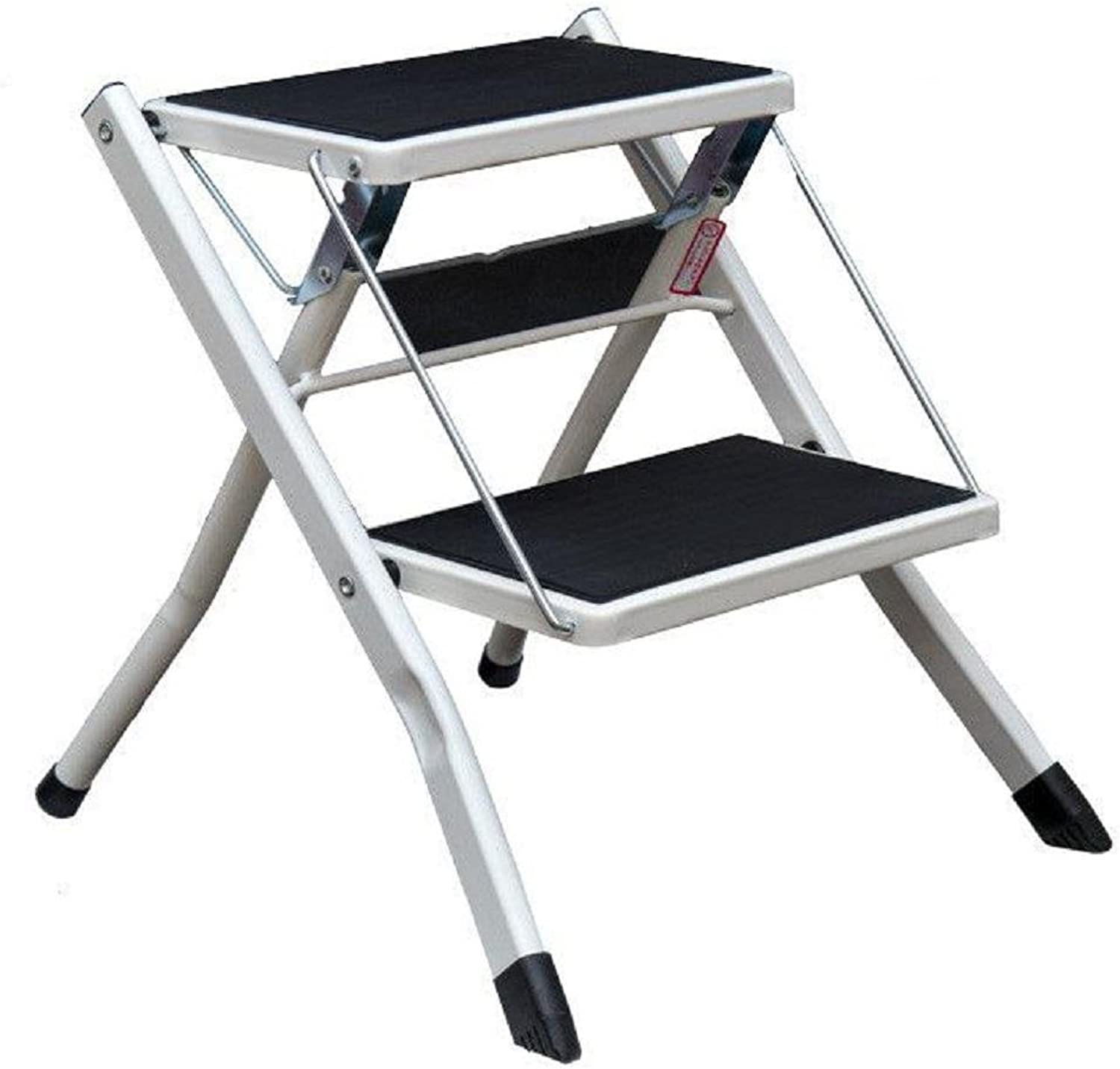 GAOJIAN Pedal Chair 2 Step Ladder Heavy Duty Steel Folding Portable With Anti Slip Ribbed Steps Holds Up To 150 Kg , a