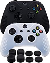 MXRC Silicone rubber cover skin case anti-slip STUDDED Customize for Xbox One/S/X controller x 2(black & white) + FPS PRO extra height thumb grips x 8