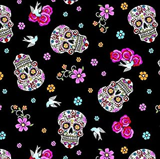 Day of The Dead Black Cotton Fabric by The Yard