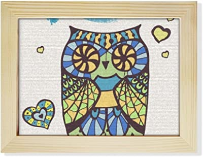 DIYthinker Decorative Love Owl Desktop Wooden Photo Frame Picture Art Painting 6x8 inch