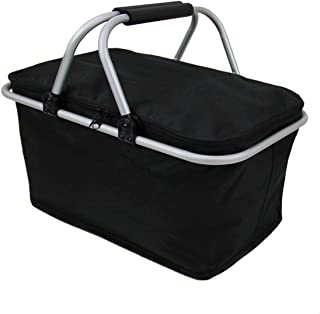 Imperial Home Insulated Folding Picnic Basket - Insulated Cooler with Carrying Handles (Black)