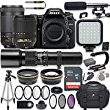 Nikon D7500 20.9 MP DSLR Camera Video Kit with AF-S 18-140mm VR Lens, AF-P 70-300mm ED Lens & 500mm Lens + LED Light + 32GB Memory + Filters + Macros + Deluxe Bag + Professional Accessories