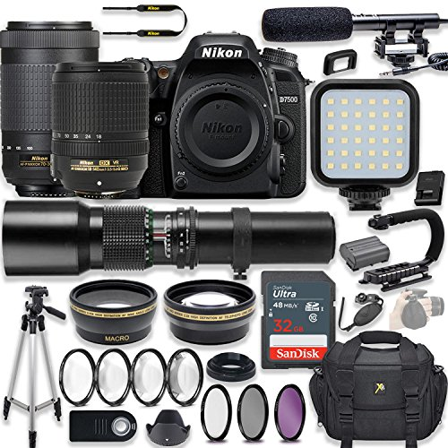 Nikon d7500 20. 9 mp dslr camera video kit with af-s 18-140mm vr lens, af-p 70-300mm ed lens & 500mm lens + led light + 32gb memory + filters + macros + deluxe bag + professional accessories
