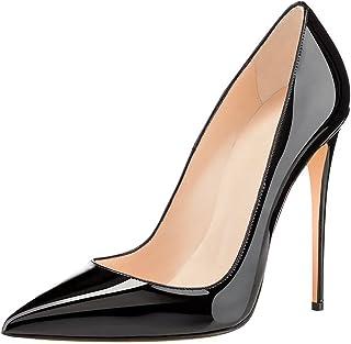 Soireelady Escarpins Femme Talon Haut 12CM,Vernies Talons Chaussures,Coupe Fermées Femme