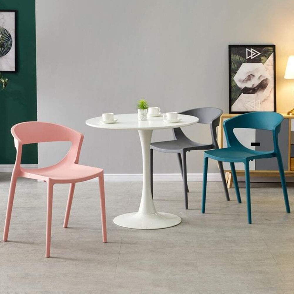 DALL Chaise De Salle À Manger Lot De 2 Plastique Chaise De Table Dossier Loisirs Nordiques Chaise De Café Empilable Chaise De Réception De Restaurant (Color : White) Pink
