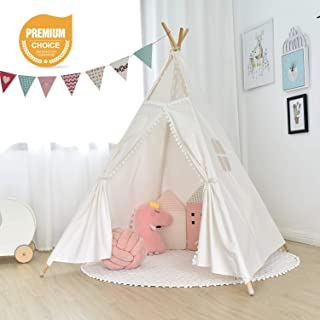 Airiir Teepee Tent for Kids, Transparent Gauze Children Play Tent with 55
