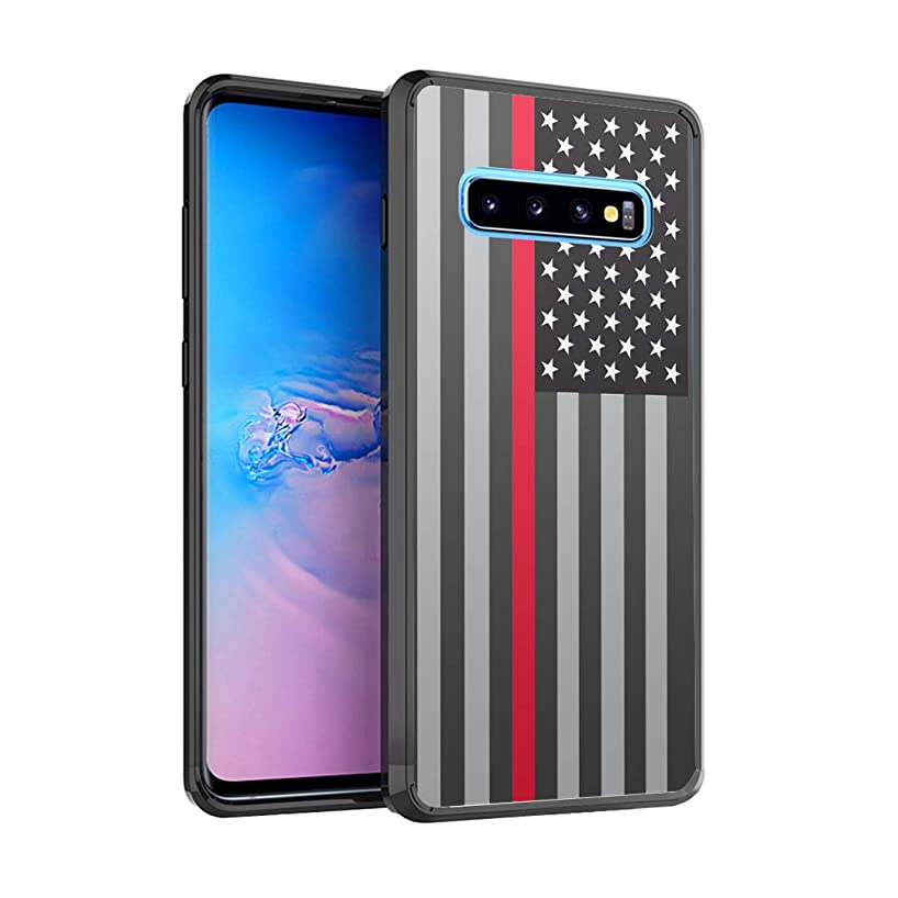 Moriko Case Compatible with Galaxy S10 [Drop Protection Slim Cushion Bumper Black Case] for Samsung Galaxy S 10 (2019) - (USA Flag Red Line)