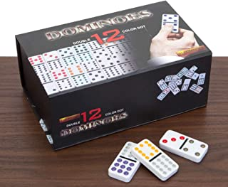 Bits and Pieces - Double 12 Color Dot Dominoes Set - 92 Professional Size Dominoes with Colored Dots - Classic Game Provides Endless Fun