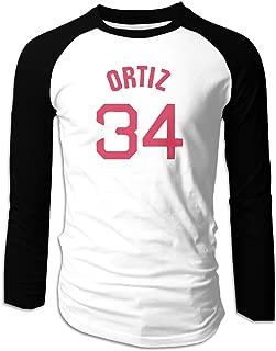 Men's Ortiz Number 34 Final Season Long Sleeve Baseball Tee Shirts Vintage
