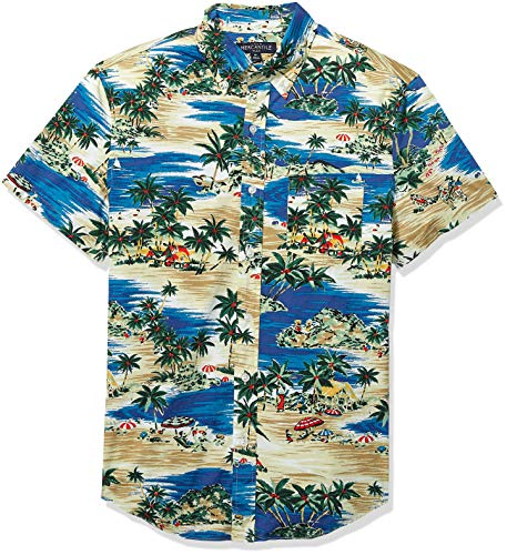 J.Crew Mercantile Men's Slim-Fit Short Sleeve Stretch Tropical Printed Shirt, Sailing Lagoon Blue Multi, L