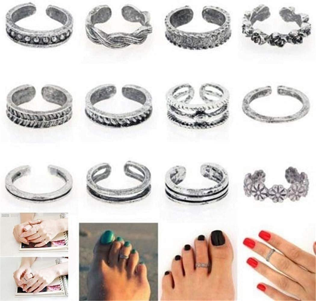 LIUCM 12Pcs/Set Beach Toe Set Ring Summer Charm Open Foot Rings Jewelry Accessories Gifts