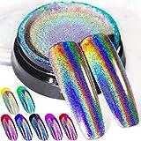 Holographic Nail Powder Fine Rainbow Holo Unicorn Mirror Laser Effect Multi Chrome Manicure Pigment Glitter Dust For Salon Home Nail Art DIY Deco, 0.04oz/1g, Sponge Tool/3pcs