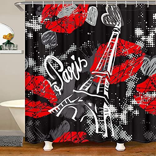 Chic Paris - Cortinas temáticas de la torre Eiffel para baño, accesorios impermeables con 12 ganchos para niños, niñas, mujeres, labios rojos, cortina de ducha estilo hippie, 177 x 200 cm