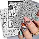 650+ Designs Punk Series Summer Nail Art Stickers Decals Nail Art Supplies 3D Self-Adhesive Newspaper Alphabet Butterfly Flower Abstract Sliders Stickers for Acrylic Nails 6 Sheets