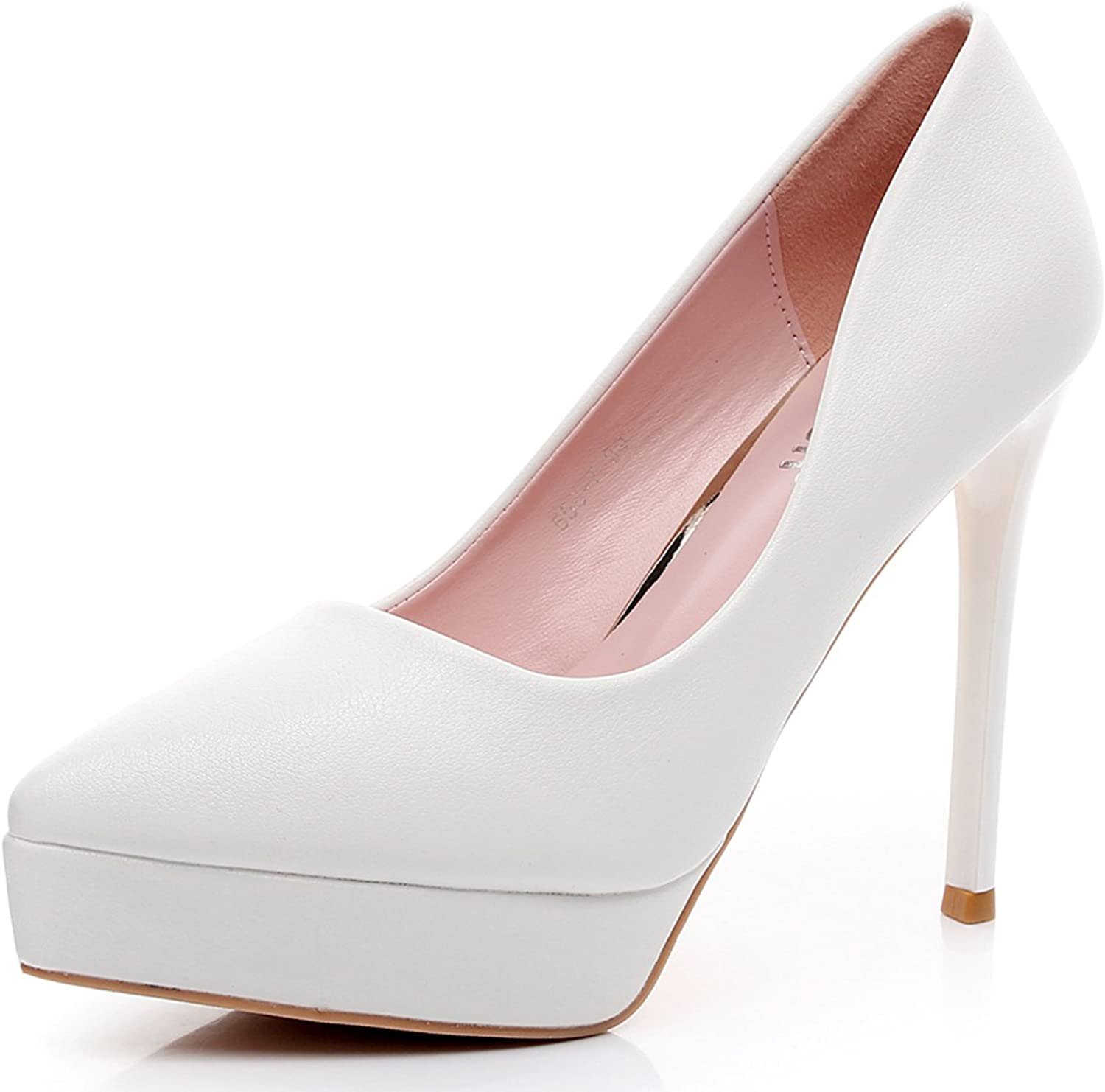 Melesh Women Wedding Dress Pumps Platform Pointed Toes High Heeled shoes