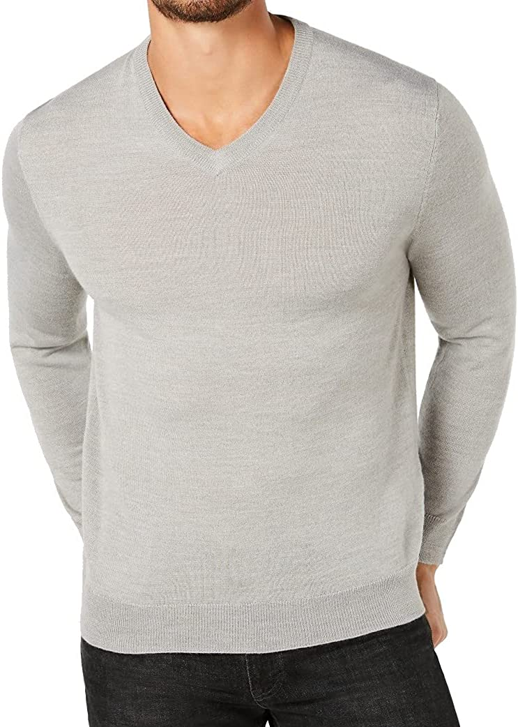 Club Room Mens Sweater V-Neck Solid Knit Pullover Wool Gray 2XL