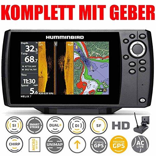 Humminbird Echolot GPS Plotter mit Geber - Helix 7 Chirp GPS Mega SI G3