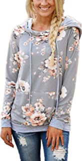 Womens Floral Hoodies Long Sleeve Drawstring Casual Sweatshirts Pullover Tops with Pockets S-XL