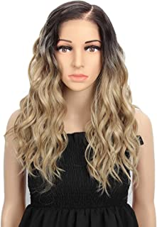 """REMY FORTE Lace Front Wig For White Women Ombre Blonde Brown Roots Heat Resistant Fiber Wigs Synthetic Natural Wave Hair Wig With Large Area""""L"""" Mono Lace 201Grams 18 Inches …"""