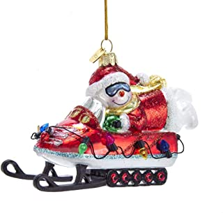 Kurt-Adler Glass Ornament with S-Hook and Gift Box, Festive Collection (Snowman On Snowmobile, NB1443)
