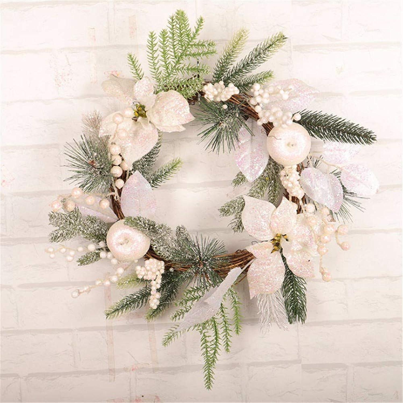 Yologg Guirnalda De Navidad De 50 Cm Flor De Navidad blancoa Círculo De Ratán Ornamento De Navidad Corona