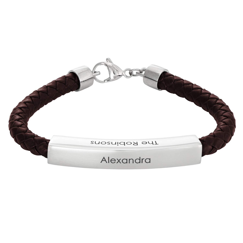 MyNameNecklace Personalized Engraved Men Leather Bar Black//Brown Bracelet Custom up to 4 Names Dad