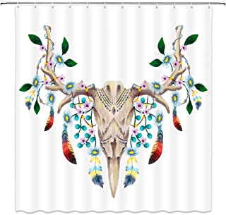 AMNYSF Colorful Feather Shower Curtain Watercolor Deer Skull Feathers Flowers Decor White Fabric Bathroom Curtains,70x70 Inch Waterproof Polyester with Hooks