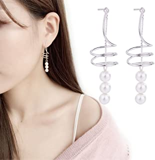 Korean Geometrical Spiral Helix Earrings with Beads Jewelry for Women and Girls