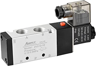 uxcell DC 24V 5 Way 2 Position 3/8 inchesPT,Pneumatic Air Solenoid Valve,Internally Single Piloted Acting Type,Green Light,4V310-10
