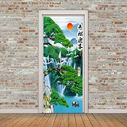 LeiDyWer Etiqueta De La Puerta Pintura De Paisaje DIY 3D Pegatinas De Puerta PVC Autoadhesivo Papel Tapiz Hogar Pegatinas De Pared Cartel De Simulación Decorativo-95cm(W)*215cm(H)