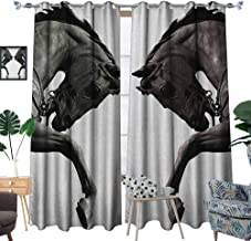 Warm Family Sculptures Waterproof Window Curtain Twin Contrast Horse Heads Statue Image Vintage Style Abstract Art Antique Theme Blackout Draperies for Bedroom W96 x L84 Bronze