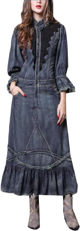 Abetteric Women Falbala Vintage Swing Premium Denim Fashionable Long Dress