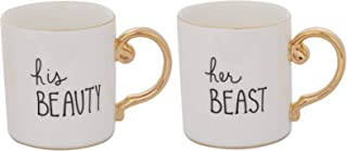 Grature Couples Mr and Mrs Coffee Mug Gift Set| His and Hers Bride and Groom Newlywed Wedding Present| Unique and Cute Bridal Shower, Engagement, Registry or Anniversary Idea | Beauty and Beast