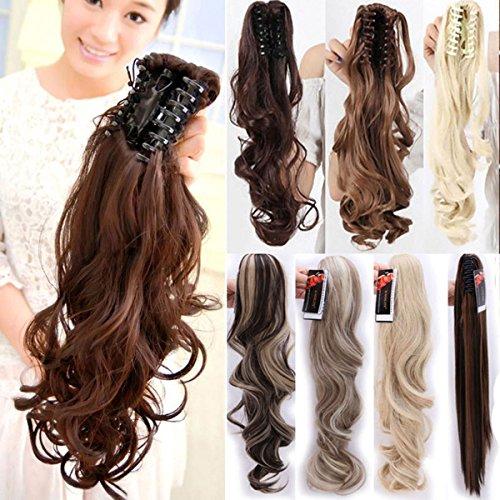 S-noilite- Voluminöses Haarverlängerung Haarteil Hair Piece Glatt Gewellt Pferdeschwanz Zopf Klauen an Ponytail ca 45cm diverse Farben Hellbraun