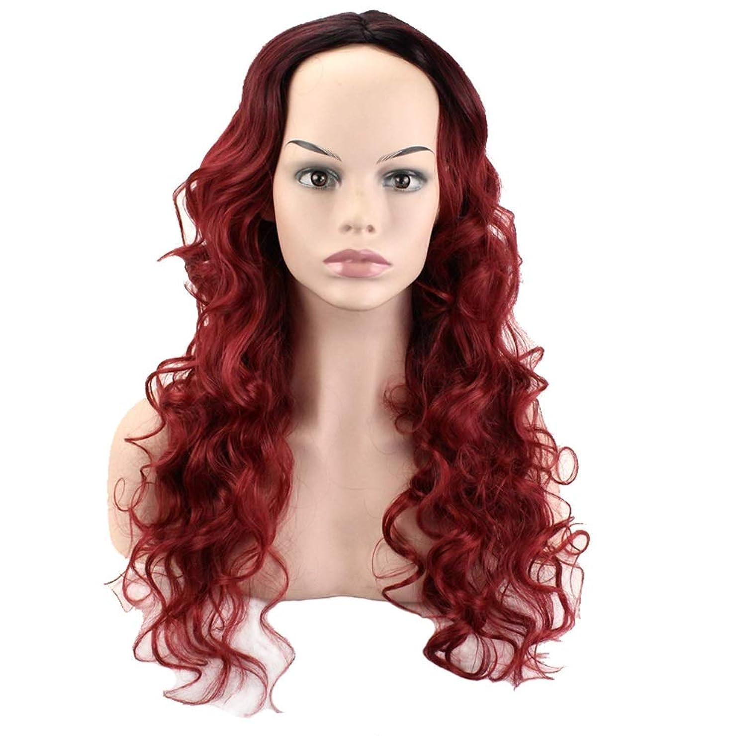 頼る充電震えるかつらロングロール高温シルクかつらファッションパーソナリティ天然柔らかいプロムスタイルのロールプレイ60cm黒のグラデーション (色 : Red, サイズ さいず : 60 cm 60 cm)