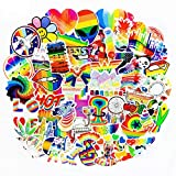 Water Bottle Stickers Gay Pride Stickers 60 pcs Bright Technicolor Rainbow Stickers Car Bike Scooter Suitcase Phone Refrigerator Laptop Cup Motorcycle Walls Bedroom Furniture Stickers(Gay Pride 60)